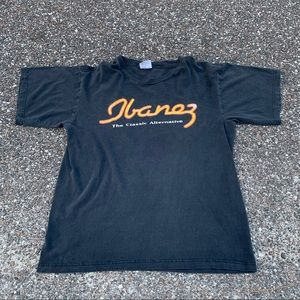 Vintage Ibanez Guitar Spellout Shirt Faded Large